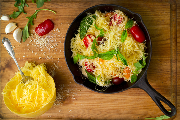 Spaghetti Squash with garlic, herbs  and Sun-Dried Tomatoes